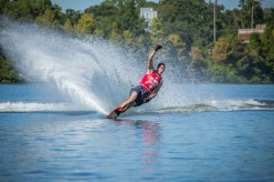 Brian Detrick celebrates after a great finals performance at the 2014 US Open of Water Skiing. Photo: Tiare Miranda Photography
