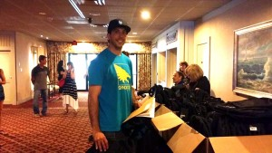 Brian Detrick at the 56th Masters athlete check in